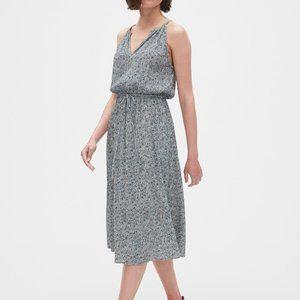 GAP Women's Blue Floral Crinkle Halter Midi Dress
